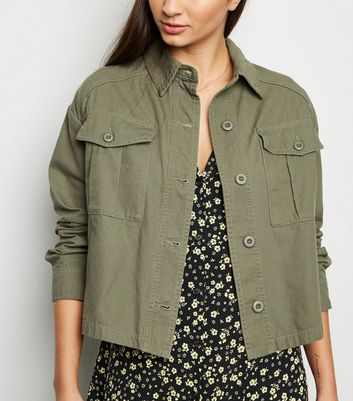 Khaki Utility Pocket Cropped Shacket