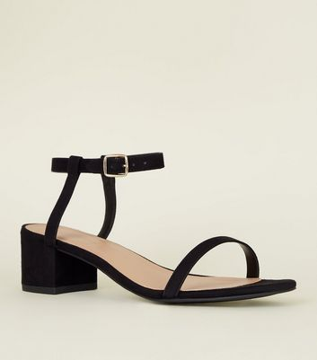 Black Suedette Two Part Square Block Heels