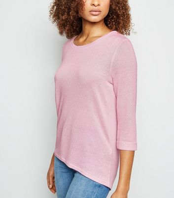 Mid Pink 3/4 Sleeve Fine Knit Top