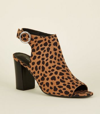 Brown Animal Print Peep Toe Heels