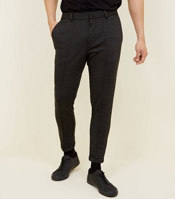 Grey Marl Pique Stretch Cropped Trousers