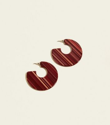 Burgundy Textured Flat Hoop Earrings by New Look
