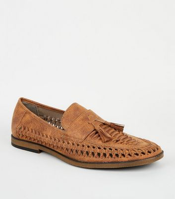 Tan Woven Tassel Front Loafers