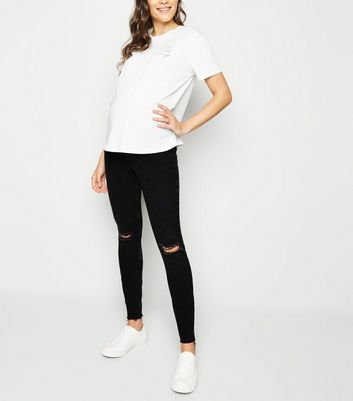 Maternity Black Ripped Knee Over Bump Skinny Jeans