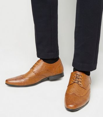 Tan Leather-Look Perforated Trim Brogues