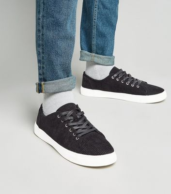 Black Corduroy Lace-Up Trainers