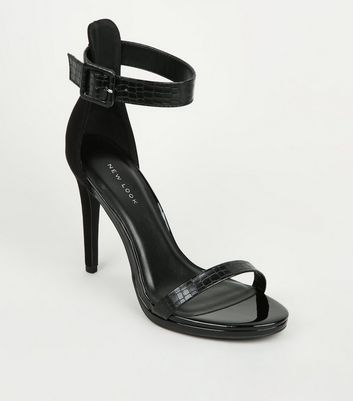 Black Suedette and Faux Croc Stiletto Sandals