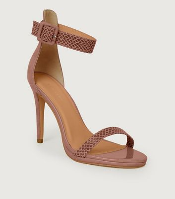 Pink Suedette and Faux Croc Stiletto Sandals