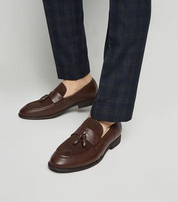 Brown Mixed Material Tassel Loafers