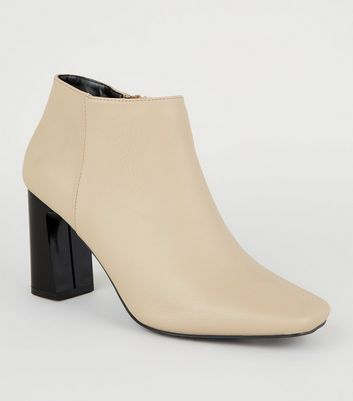 Camel Leather-Look Square Toe Heeled Boots