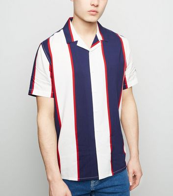 Navy and Red Short Sleeve Shirt