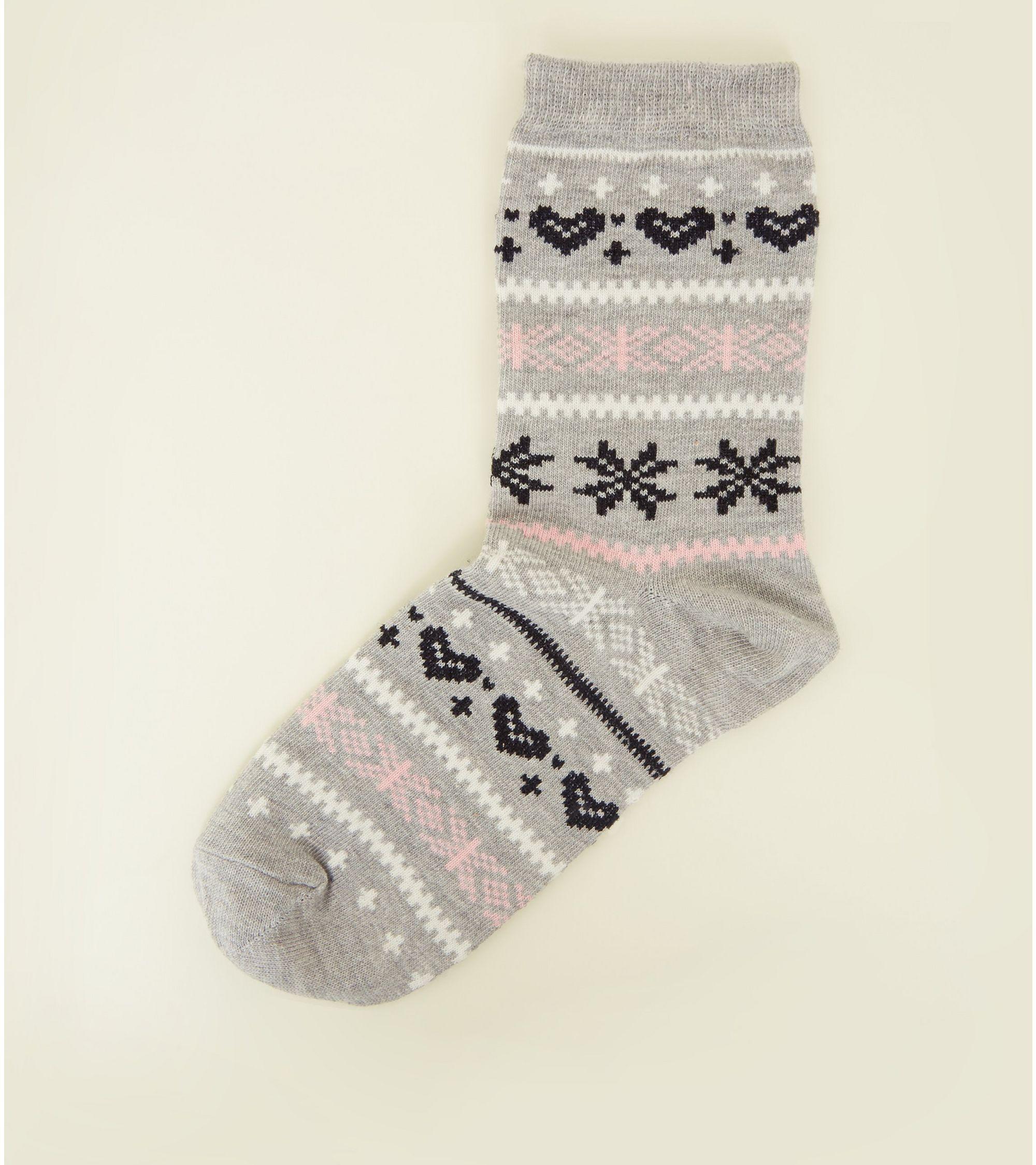 size 40 d719f adb91 New Look - Light Grey Fairisle Glitter Socks - 1