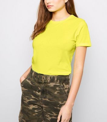 Yellow Neon Roll Sleeve T-Shirt