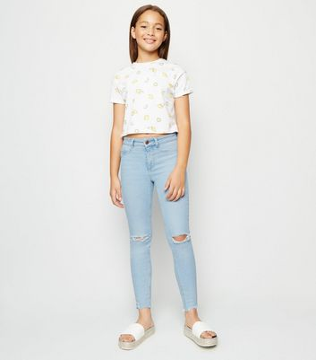 Girls Pale Blue High Waist Ripped Skinny Jeans