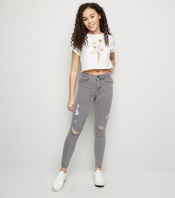 Girls Grey Ripped High Rise Skinny Jeans