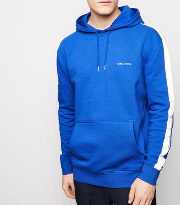 Bright Blue Global Sports Embroidered Slogan Hoodie