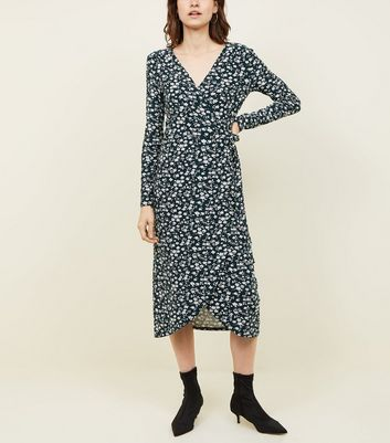 Green Ditsy Floral Soft Touch Midi Dress