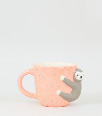 Coral Speckle Smiley Sloth Mug