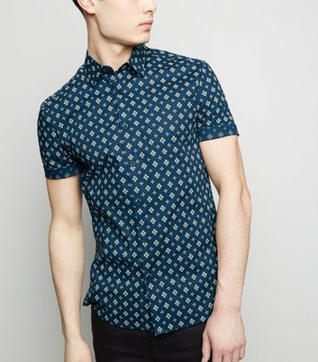 Navy Tile Print Muscle Fit Short Sleeve Shirt