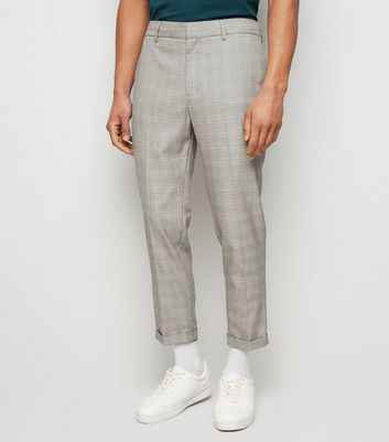 Pale Grey Grid Check Half Elasticated Trousers
