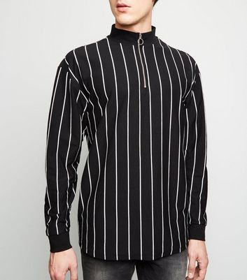 Black Vertical Stripe Long Sleeve Funnel Neck T-Shirt