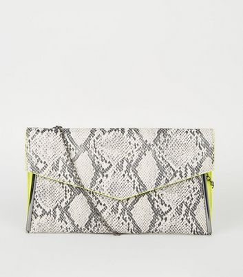 Light Grey Faux Snake Neon Trim Clutch
