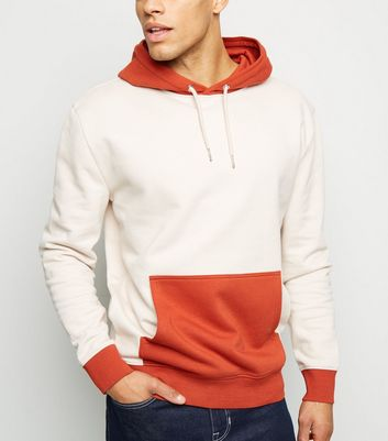 Orange Contrast Block Panel Hoodie
