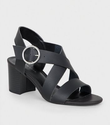 Black Leather-Look Cross Strap Block Heels