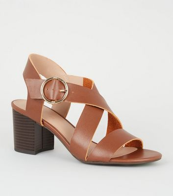 Tan Leather-Look Cross Strap Block Heels
