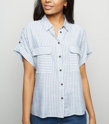Petite Blue Stripe Textured Short Sleeve Shirt
