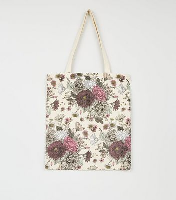 Dark Purple Floral Canvas Bag
