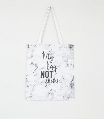 Pale Grey Marble Print Slogan Canvas Bag