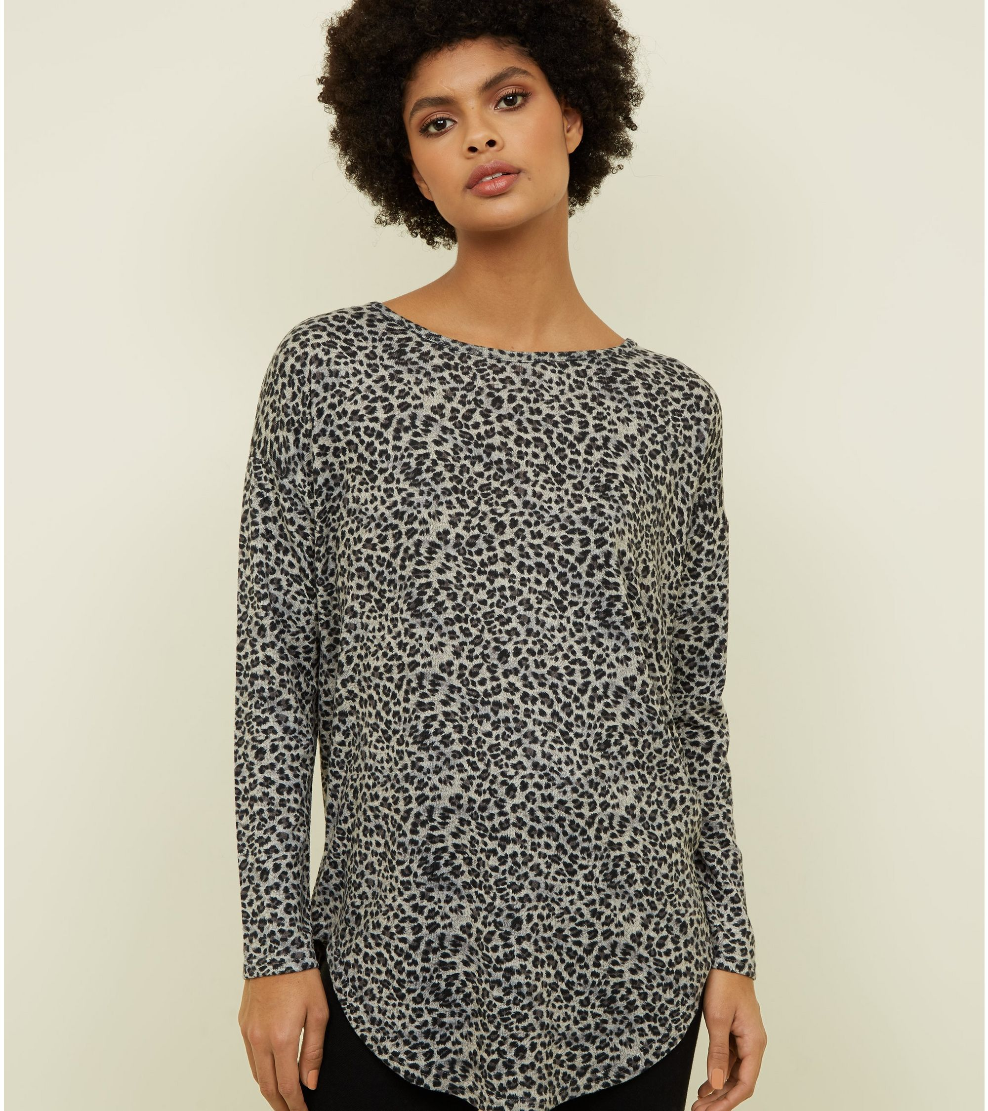 68298043cf37 New Look Light Grey Zip Back Leopard Print Top at £17.99