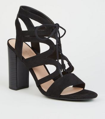 Black Suedette Lace Up Cut Out Gillie Block Heels