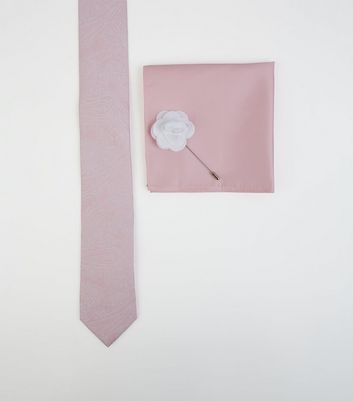 Pink Paisley Tie Handkerchief and Pin Set