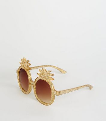 Girls Gold Glitter Pineapple Sunglasses