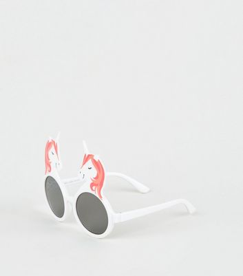 Girls White Unicorn Frame Sunglasses