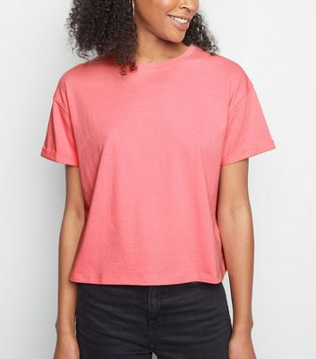 Pink Neon Cropped Cotton T-Shirt