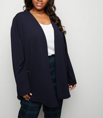 Mela Curves Navy Zip Pocket Blazer
