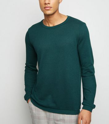 Green Crew Neck Textured Knit Jumper