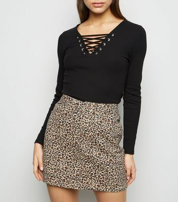 Petite Brown Leopard Print Denim Skirt