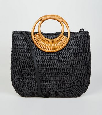 Black Straw Effect Woven Handle Tote bag
