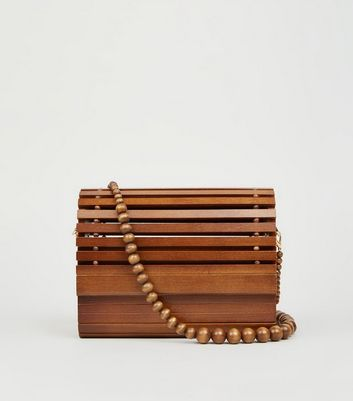 Dark Brown Slatted Wood Shoulder Bag