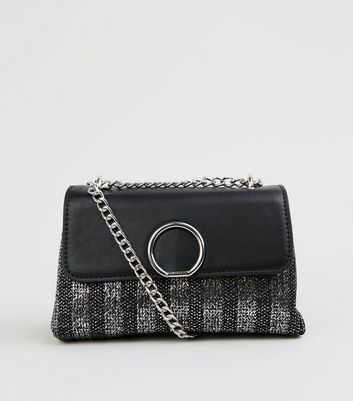 Black Metallic Woven Stripe Shoulder Bag