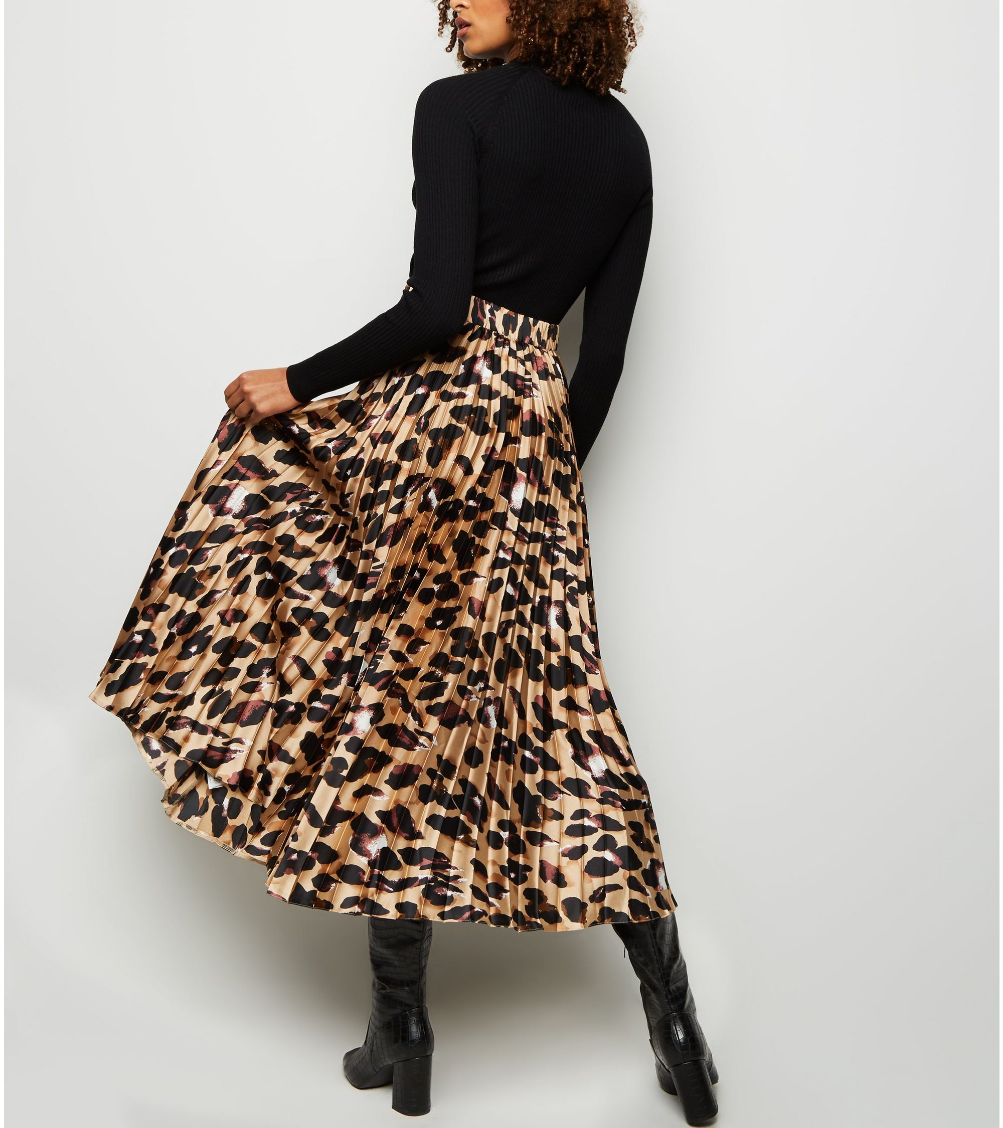 best selection of 2019 2019 best meet Tall Brown Leopard Print Pleated Satin Midi Skirt