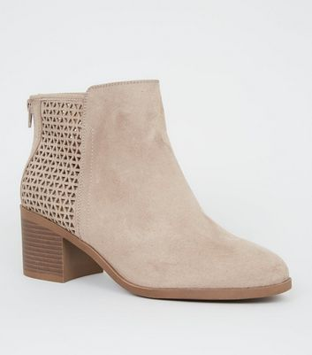 Wide Fit Camel Cut Out Back Ankle Boots