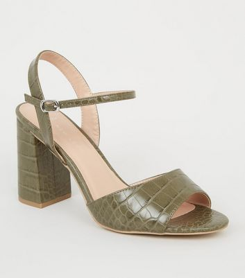 Wide Fit Khaki Faux Croc Block Heels