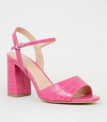 Wide Fit Bright Pink Faux Croc Block Heels
