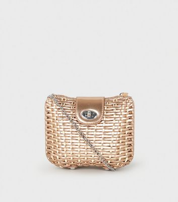 Rose Gold Structured Woven Cross Body Bag