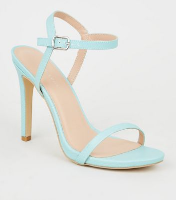 Mint Green Faux Snake Stiletto Heel Sandals